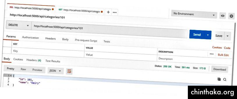 Como puede ver, la API eliminó la categoría existente sin problemas