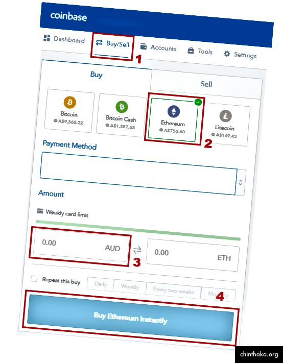 """Nákup éteru na Coinbase je jednoduchý. Zadajte požadovanú čiastku a stlačte """"Kúpiť""""."""