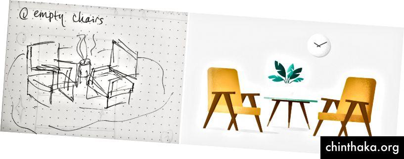 Zeichnen (Versuch) versus endgültige Illustration für einen leeren Zustand bei Envoy
