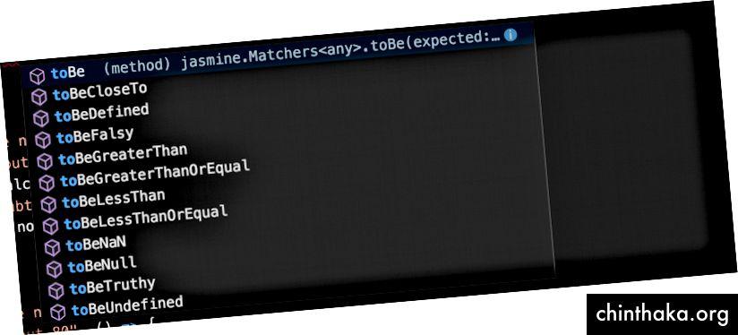 sugerencias de matcher por VSCode