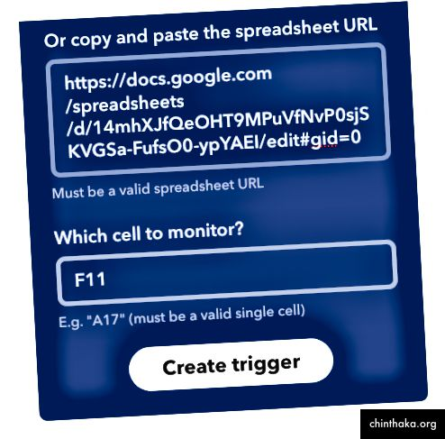 Ihre Tabellenkalkulations-URL sollte sich von der hier abgebildeten URL unterscheiden, da Sie die URL aus der Kopie der Tabelle verwenden sollten, die Sie auf Ihrem eigenen Google Drive gespeichert haben