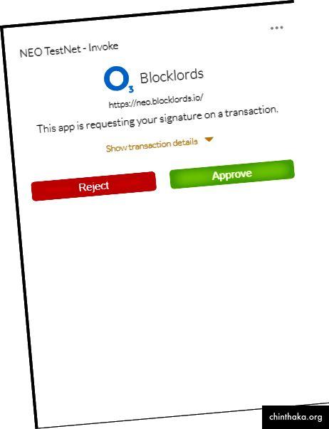 Haga clic en aprobar para aceptar una transacción.