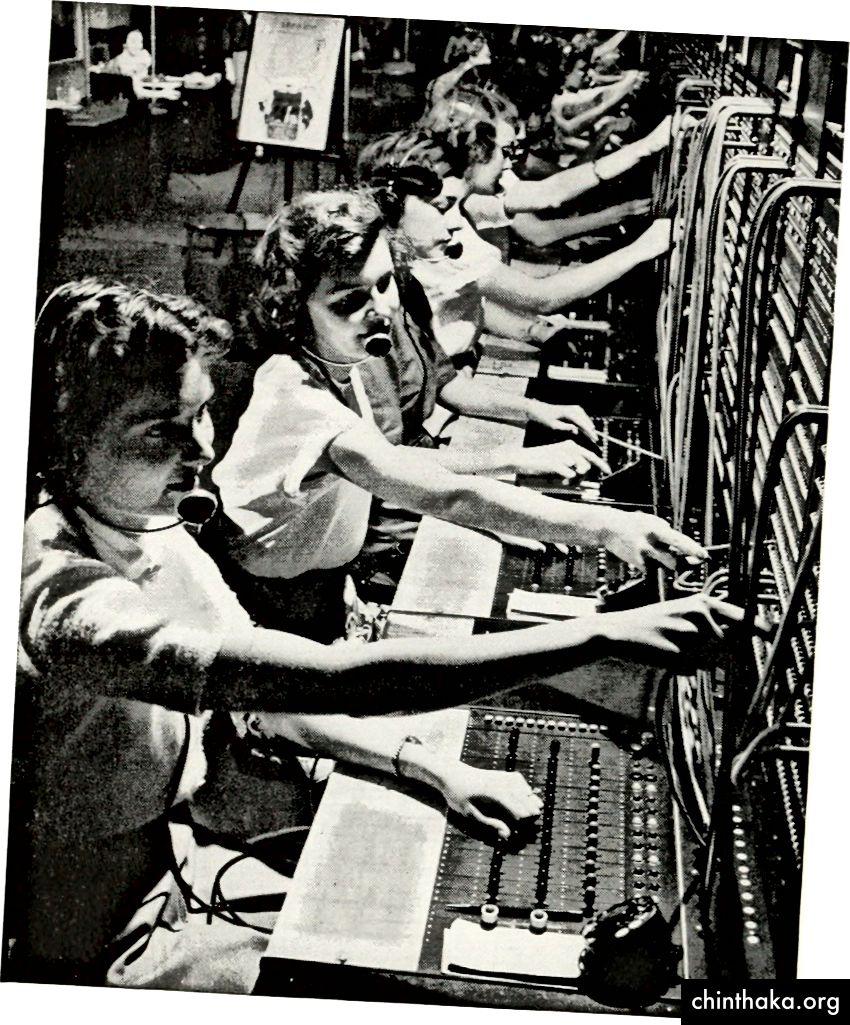 Telefonoperatører afbildet i en 1922-udgave af Bell Telefon Magazine. (Billedkredit)