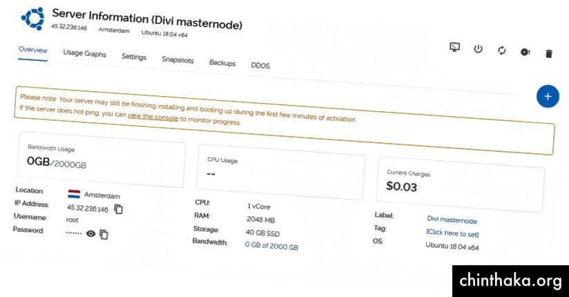 Jeg har givet VPS-etiketten kaldet Divi masternode, så jeg let kan genkende det. Du vil måske også tilføje den type maskternode, du kører, især hvis du vil køre flere, som kobber, guld osv. Osv.