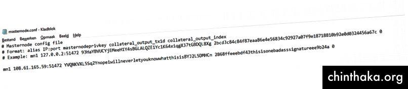 Her ser vi konfigurationslinjen fra trin 2 indsættes i filen masternode.conf på klient-pc'en.