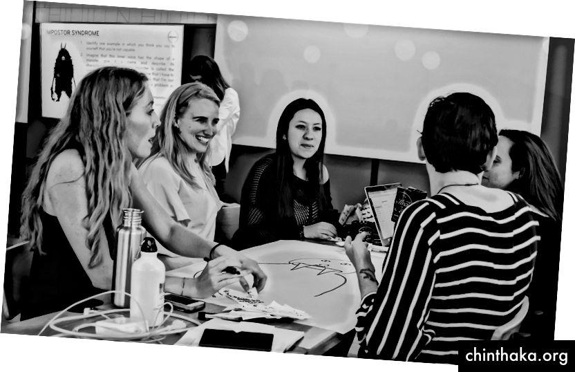 Einige von uns bei einem Workshop für Frauen in Führungspositionen während des Firmenretreats.