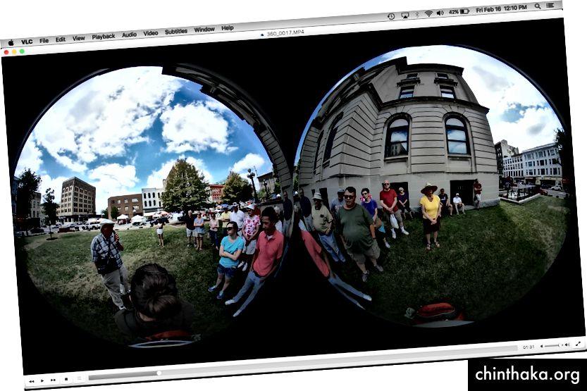 Raw Gear 360 görüntü, VLC'de görüldüğü gibi