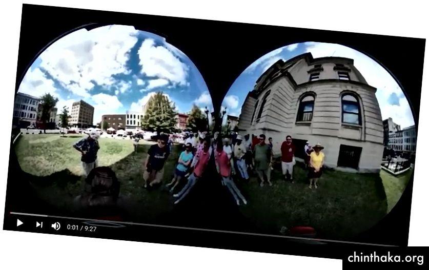 Hem Facebook hem de Youtube, standart bir 2D video olarak raw Gear 360 görüntülerine ev sahipliği yaptı.