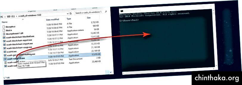 لفتح محفظة CLI بسهولة مع موجه الأوامر ، انقر واسحب xcash-wallet-cli.exe في النافذة.