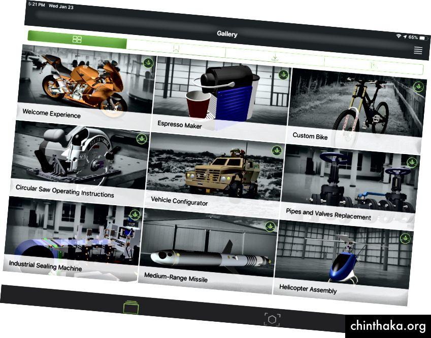Hjemmesiden til Vuforia View-appen.