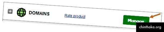 GoDaddy Manage Domains Dashboard Screenshot mit Pfeil auf die Option Verwalten. (1)