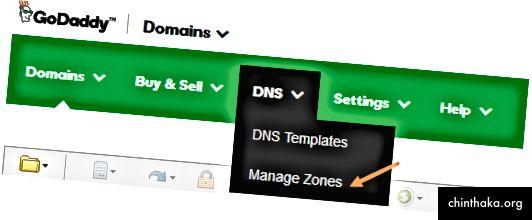 GoDaddy Domains Dashboard-Screenshot, wobei der Pfeil auf die Option