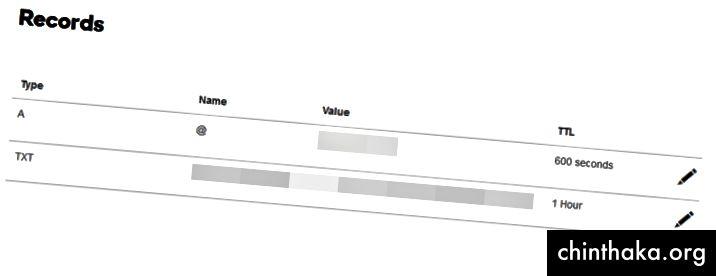 GoDaddy DNS Zone Editor Admin Dashboard Skærmbillede med pil peger på Tilføj muligheden. (1)