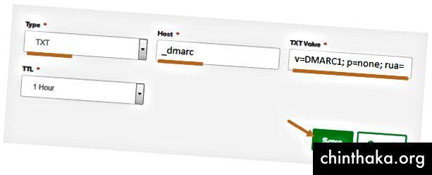 GoDaddy Tilføj DNS-indtastning Admin Dashboard Skærmbillede med knap, der peger på Gem-knappen og TXT som type, _dmarc som vært og den krævede værdi under TXT-værdi fremhævet. (1)