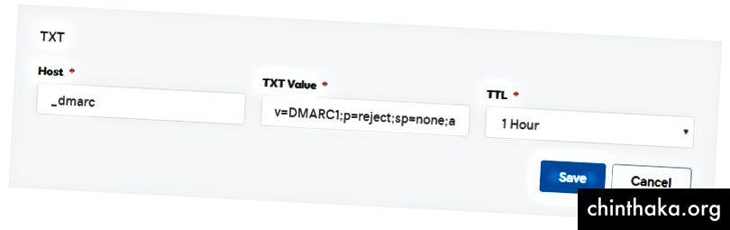 GoDaddy DNS-prøve TXT-indtastning for DMARC-indstillingerne som beskrevet ovenfor.