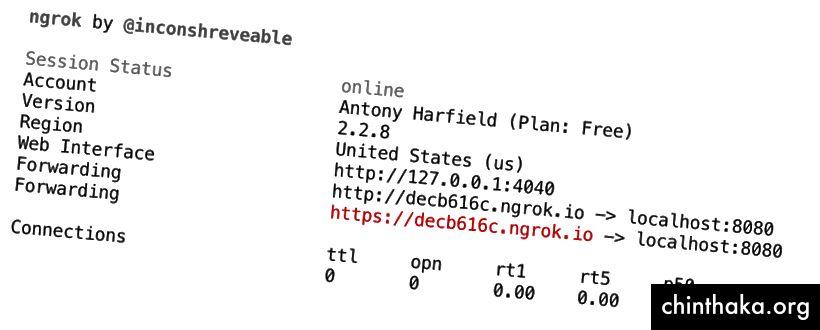 Se execută ngrok pentru a obține o adresă URL https publică pentru serverul dvs. local
