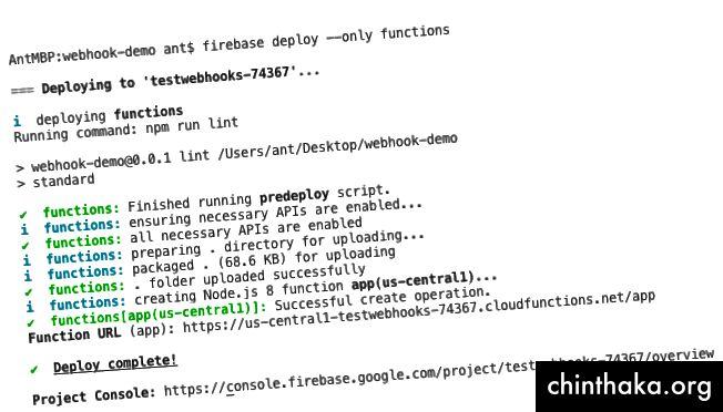 Implementați un cârlig web la funcțiile Cloud pe Firebase