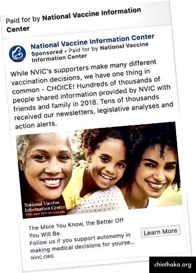 Eine von der NVCA gesponserte Anzeige zur Förderung der Impfstoffauswahl