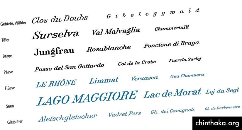 Typografie von Swisstopo-Karten