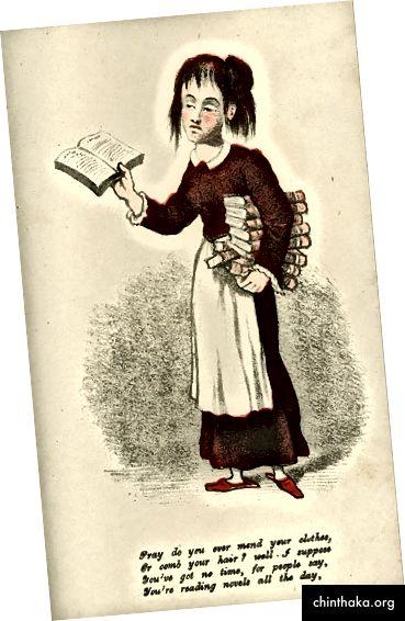 Public Domain Image [Essig Valentine Transkript für Screenreader: Beten Sie, dass Sie jemals Ihre Kleidung flicken oder Ihre Haare kämmen? Nun, ich nehme an, Sie haben keine Zeit, denn die Leute sagen, Sie lesen den ganzen Tag Romane.]