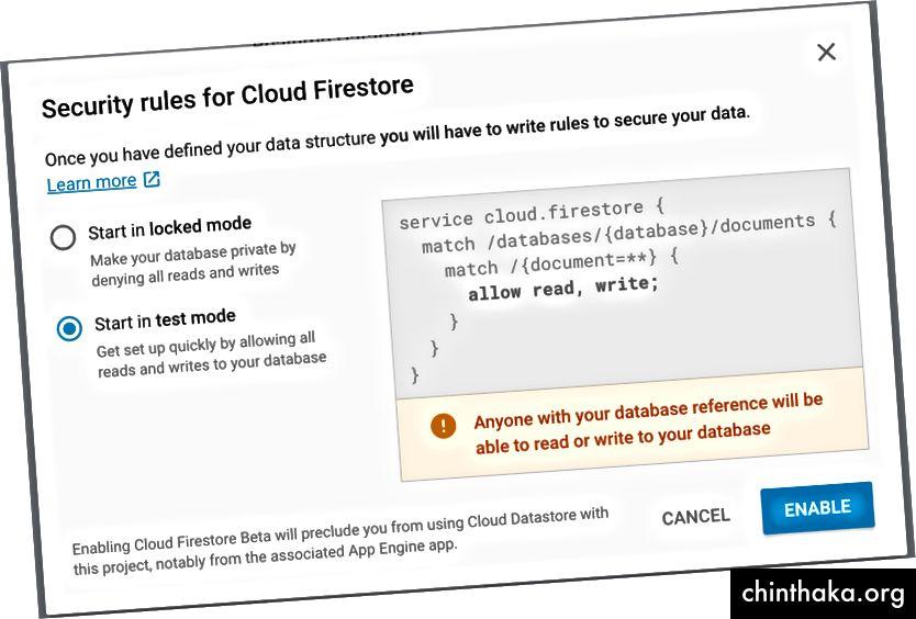 Αριστερά: Επιλέξτε Cloud Firestore, Δεξιά: Επιλέξτε την επιλογή λειτουργίας δοκιμής.