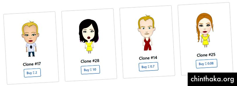 Kloner til salg på POPs-markedet