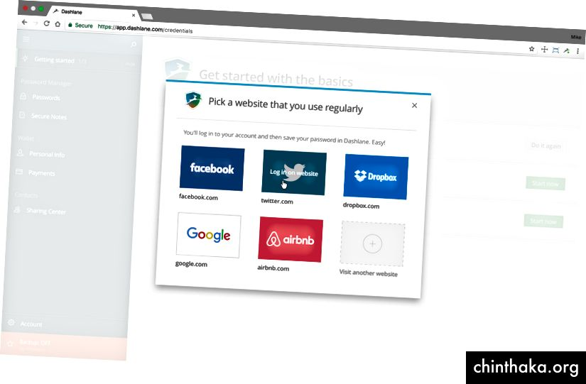 Dashlane Web on-boarding