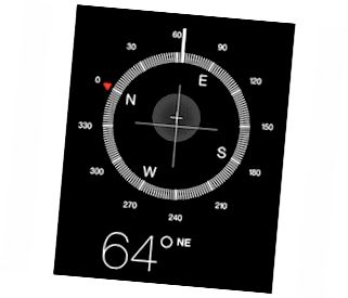 Der digitale Kompass ähnelt einem Magnetnadelkompass.