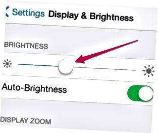 Während Sie den Schieberegler bewegen, wird die Bildschirmbeleuchtung in Echtzeit angepasst.
