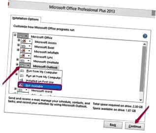 Outlook-installationsalternativ.