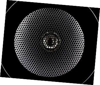 Primo piano della membrana dell'altoparlante di musica