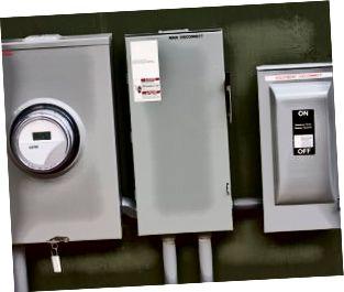Nahaufnahme eines elektrischen Bedienfelds