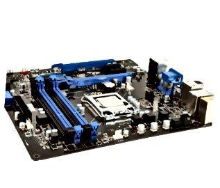 Schwarze und blaue Hauptplatine des Laptops