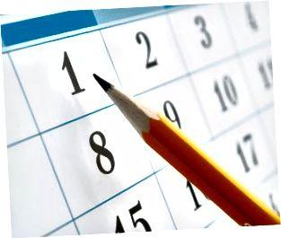 página de calendario