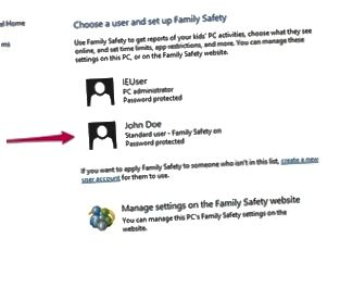 Bedienfeld für Familiensicherheit