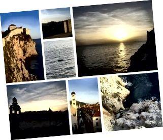 Utsikt från Dubrovnik-väggarna, Kroatien: collage av foton, kort, vykort