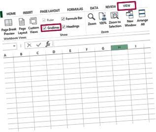 Dölj rutnät i Excel
