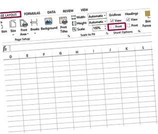 Skriv ut rutnät i Excel