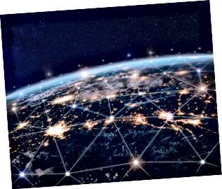 Red global de telecomunicaciones, nodos conectados alrededor de la tierra, internet, comunicación mundial