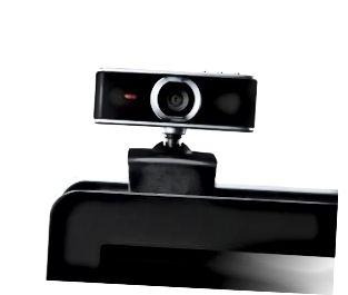 Webkamera auf Laptop starrt dich an