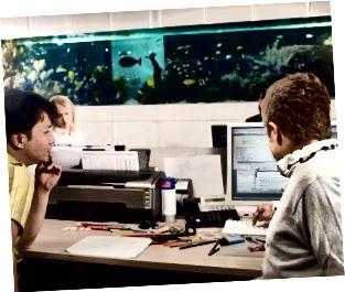 zwei junge Männer, die auf den Computerbildschirm schauen