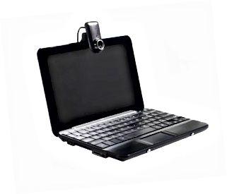 Sort bærbar computer med webcam, set fra siden