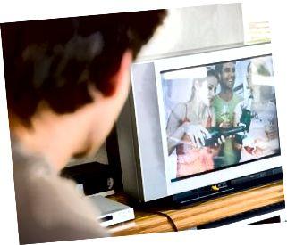 Hombre, mirar television