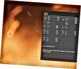 En bild i Photoshop, med tre exempelpunkter och Info-panelen synlig.