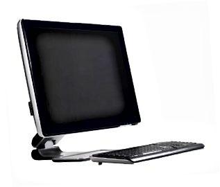 Teclado y pantalla plana de computadora - vista lateral