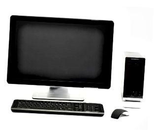 Dator med platt skärm och mus