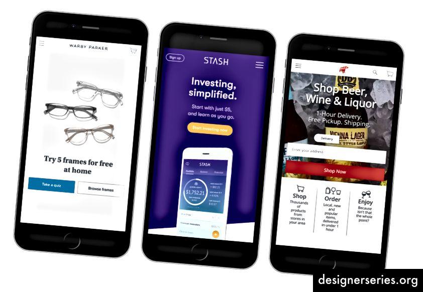 Venstre til højre: Warby Parker, Stash Invest, Drizly