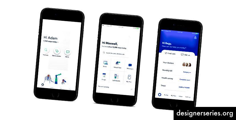 Conceptele noastre originale de prototip pentru testarea utilizatorilor (A, B și C de la stânga la dreapta).