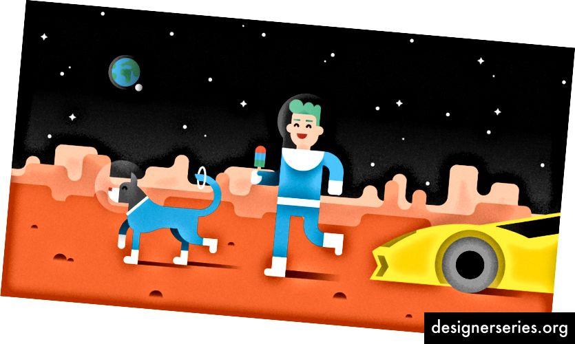 """""""Hvis jeg kunne gå hvor som helst, ville jeg tage til Mars i min flyvende guld Lamborghini ... medbringe min hund og spise is."""" - Amadi, 11 år"""