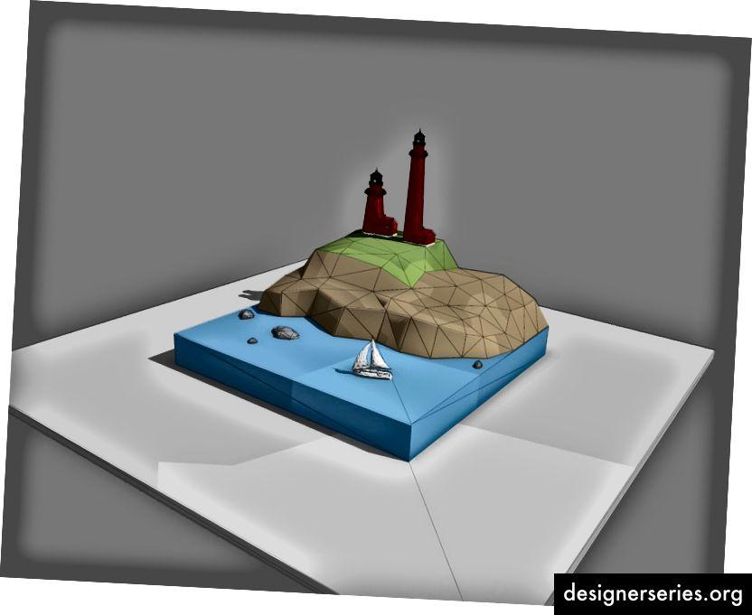 Bloqueo temprano de la escena de Cape Cod para determinar la escala de los elementos.